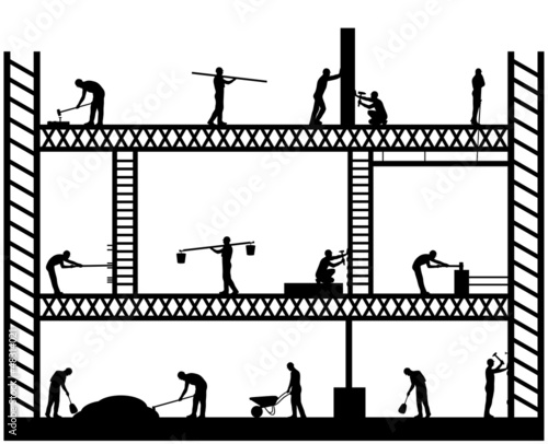 Illustration of team workers working on scaffold