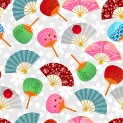 seamless pattern with Japanese fans