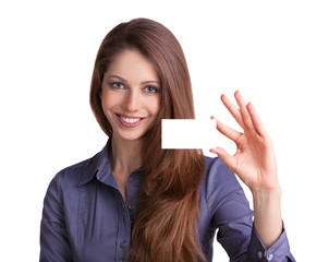 Cute girl showing a business card