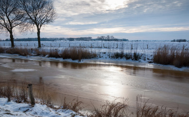 Smooth ice in a Dutch country polder area