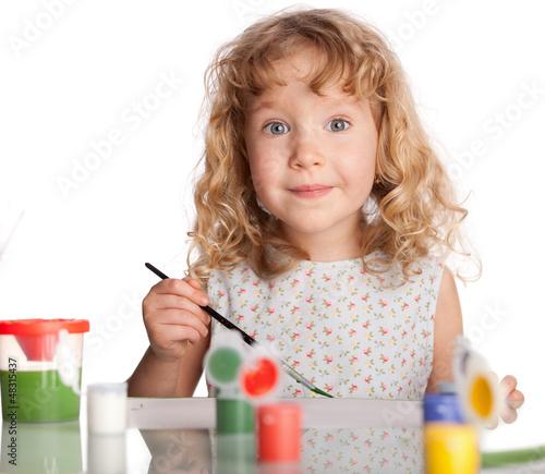Girl, draws paint