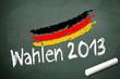 Kreidetafel mit Wahlen 2013