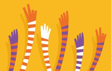 Multitud con manos levantadas