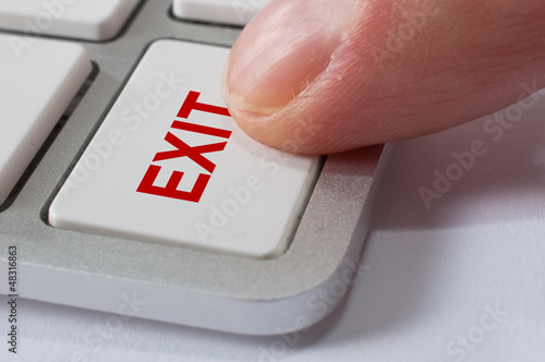 Finger pressing EXIT key