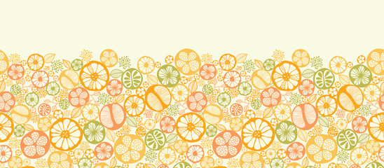 Vector citrus slices horizontal seamless pattern background