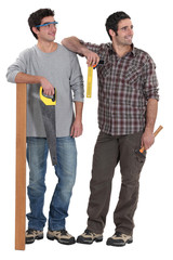 Tradesmen being distracted by an attractive woman