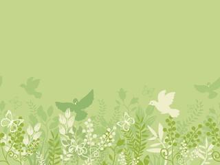 Vector green nature horizontal seamless pattern background