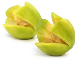 Spondias or hog plum fruit over white background