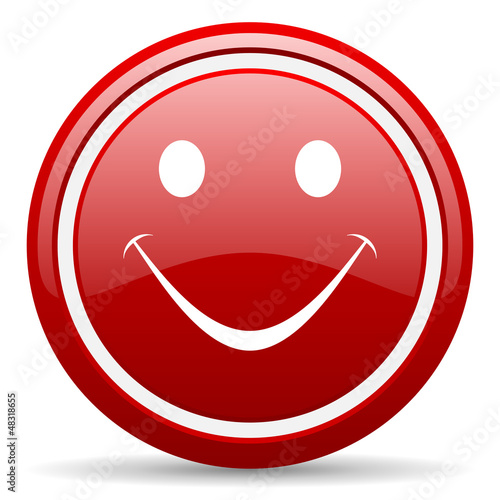 smile red glossy icon on white background