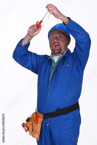 Electrician getting a shock