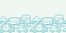 Vector doodle cars horizontal seamless pattern background