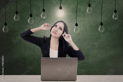 Businesswoman think of ideas