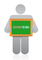 placard that reads Listen to Me