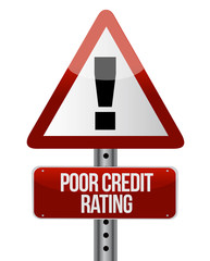 warning sign with a credit rating concept.
