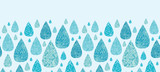 Vector rain drops textured horizontal seamless pattern