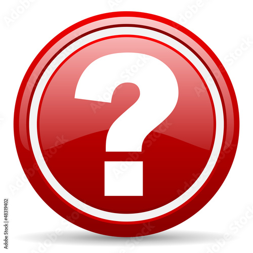 question mark red glossy icon on white background