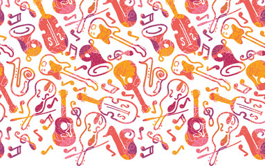 Vector colorful musical instruments horizontal seamless pattern