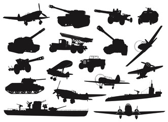 World War 2 military silhouettes set. Vector