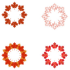 A set of circular Canadian Flaf maple leaf design elements