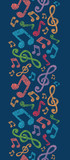 Vector colorful musical notes vertical seamless pattern