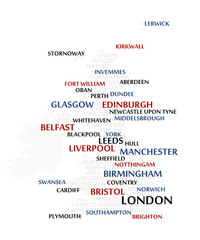 United Kingdom map made from cities with the country name