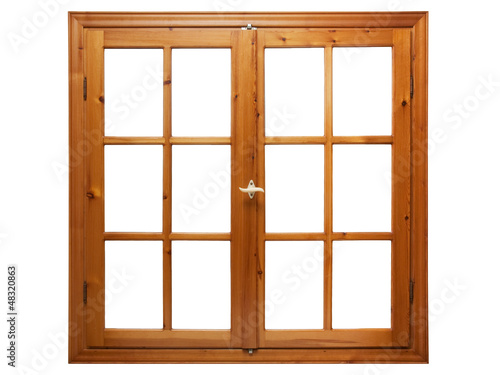 Wooden window isolated on white background. - 48320863