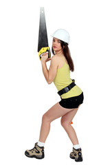 Woman holding saw provocatively