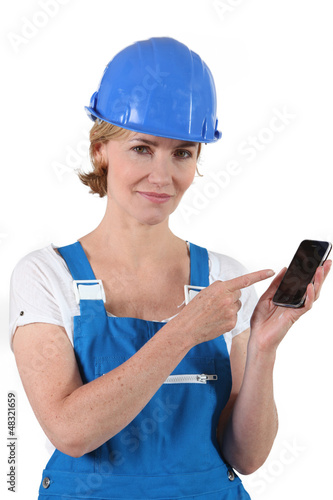 portrait of a woman in working clothes