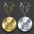Silver and gold cat medallions