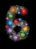 Number six made from colorful in the form of fireworks numbers