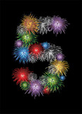 Number five made from colorful in the form of fireworks numbers