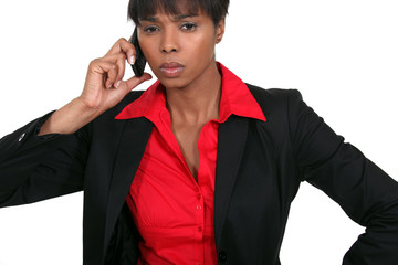 black businesswoman on the phone