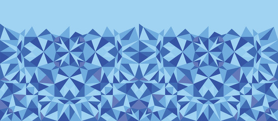 Vector blue triangle texture horizontal seamless pattern