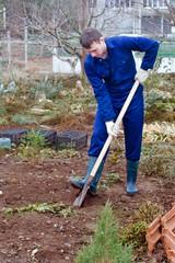 Man digging soil