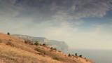 Cloudy sky over the mountains and the sea. Balaklava, Crimea, Uk