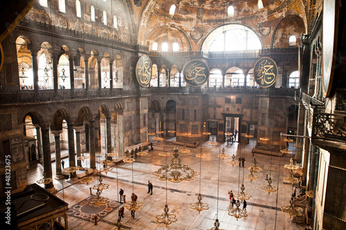 Hagia Sophia Columns Chandeliers Windows  Istanbul Turkey