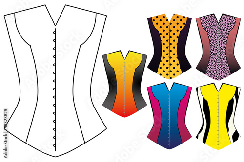 EPS10 Blank Oultine of a Corset with Different Styles