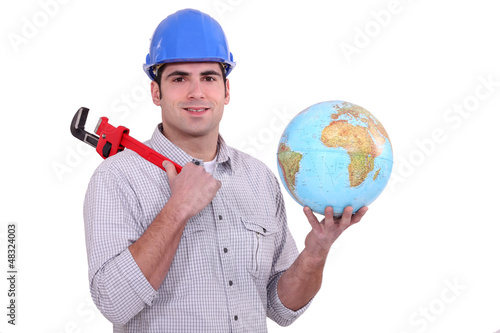 Plumber with a globe