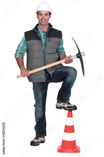road worker posing