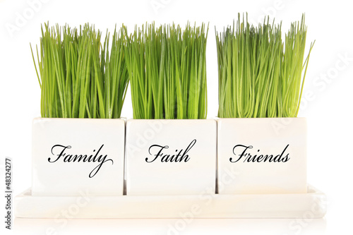 Family, faith, friends decoration.