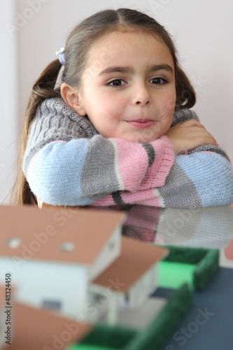little girl in a real estate agency