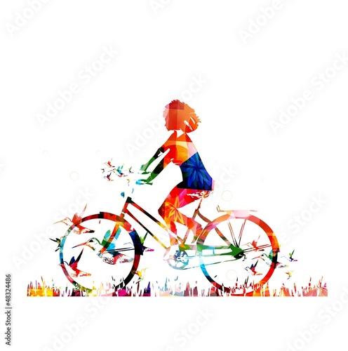 Deurstickers Geometrische dieren Colorful vector girl with bike