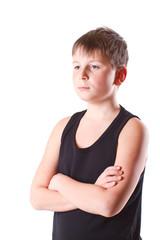 boy in black shirt