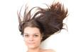 femme avec brun cheveux