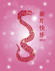 Chinese New Year Dots Snake on Bokeh Background
