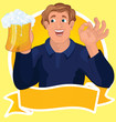 Man with beer ribbon vector