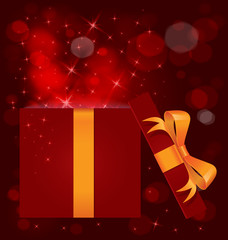 Magic light gift box open vector