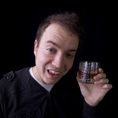 drunk man with glass of whiskey
