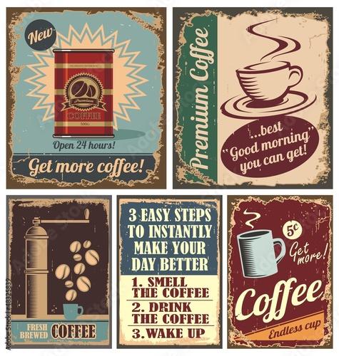 Vintage Kaffee Poster und Metallschilder