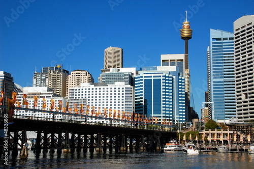 View on Pyrmont Bridge, Sydney Tower Eye, CBD. Sydney, Australia
